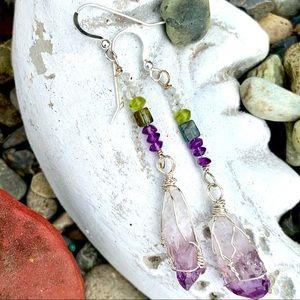 Amethyst Crystal & Bead Earrings